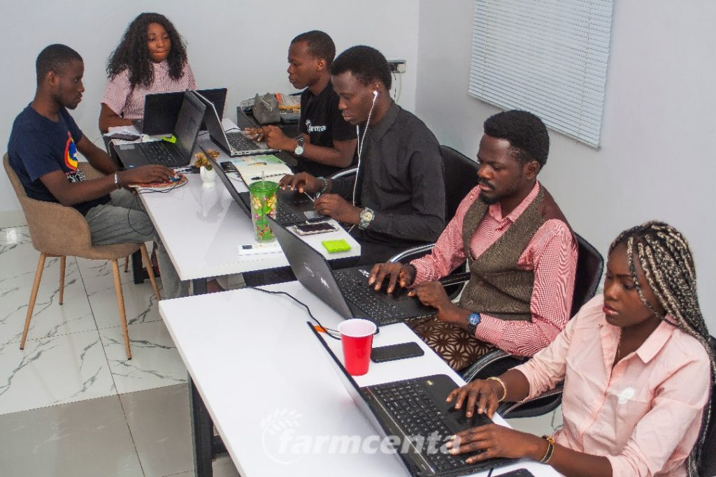 farmcenta, one of the top agric-tec h companies in Nigeria team members at the work station