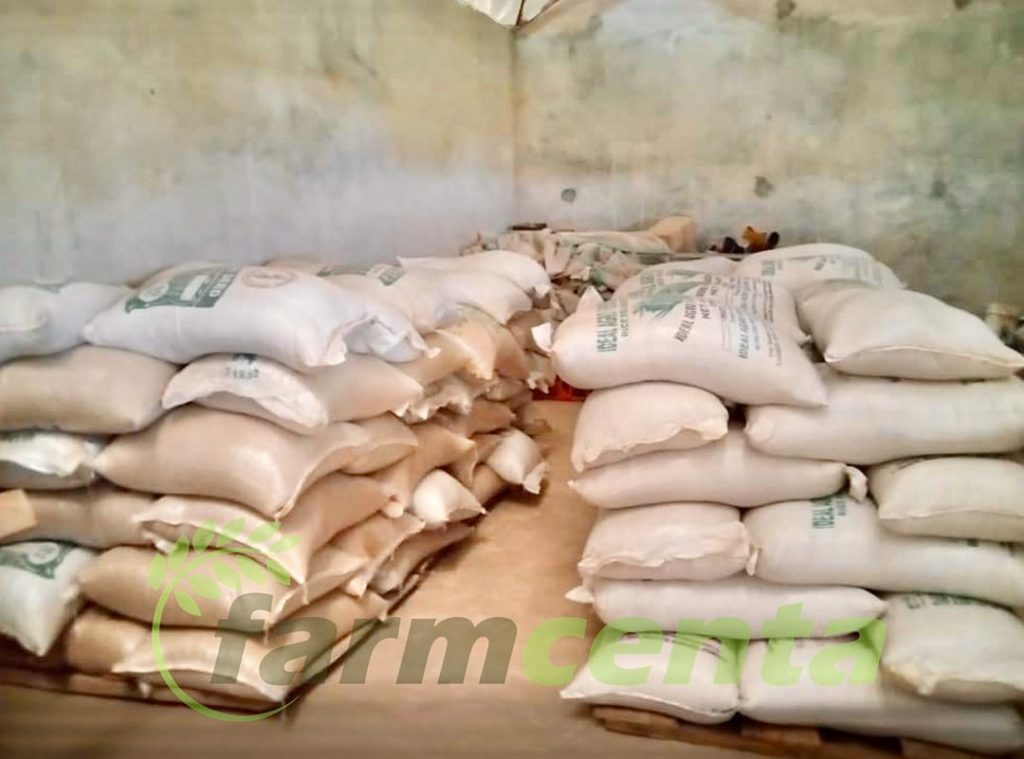 Bags of high quality seeds in Farmcenta storage facility ready for planting
